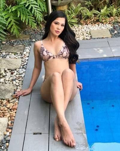 Gorgeous Filipina Bikini Beauty Long Black Hair Amazing Curves