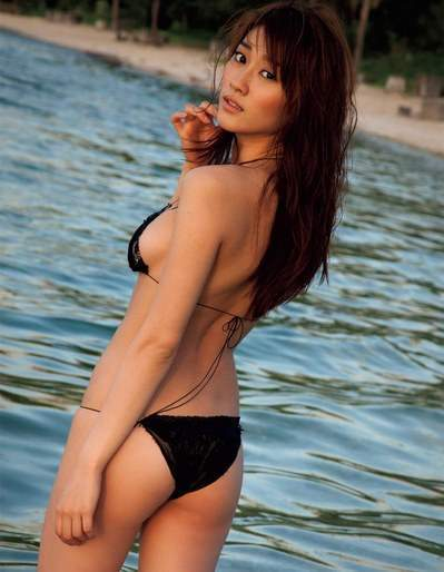 Japanese Sexy Girl Black Bikini Beautiful Beach Coast Line Small