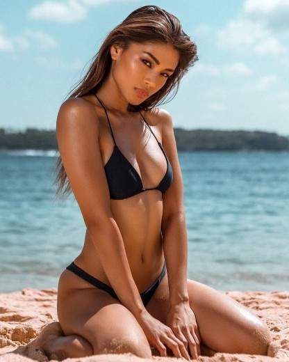 Pure Hot Filipina Bikini On The Beach Black Bikini