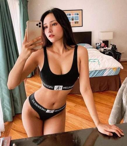 Sexy Vietnamese Girl Selfie Seductive Black Designer Underwear Small