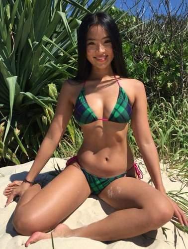 Petite Filipina Lbfm Tiny Hard Body Green Skimpy Bikini Beach Beauty