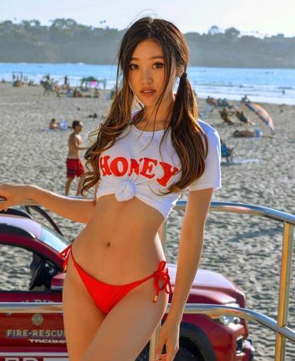 Beautiful Tall Japanese Babe With Pigtails Wearing Bikini Panties Small
