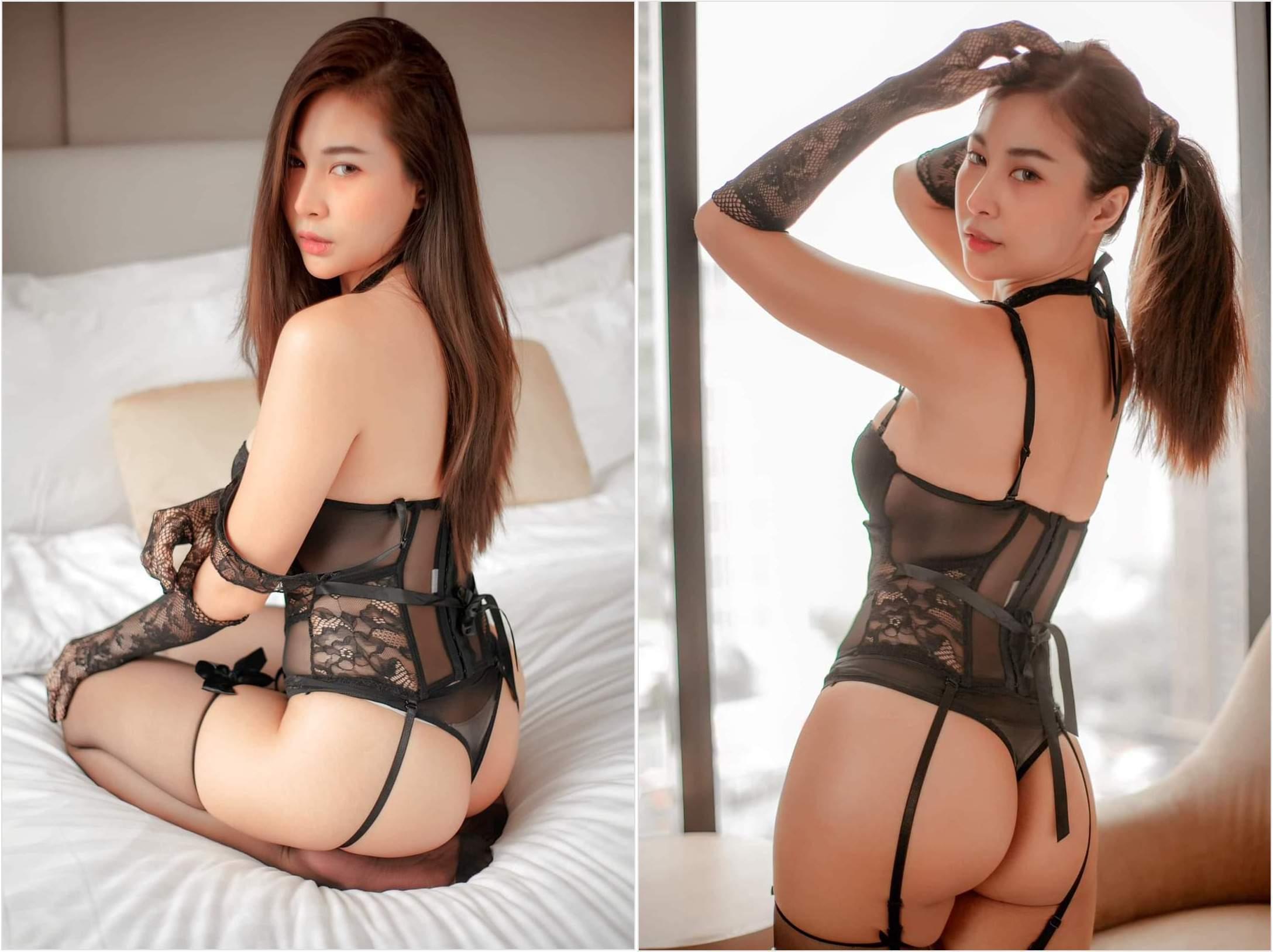 Japanese Lingerie Model Sexy Black Garter Belt Silk Stockings