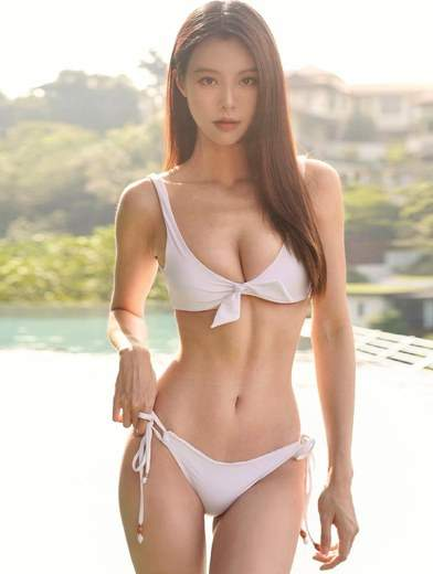 Petite Malaysian Babe Sexy White Bikini Tall Slender Body Small