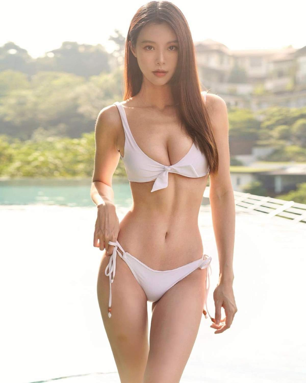 Tall Malaysian Babe Sexy White Bikini Slender Hot Body